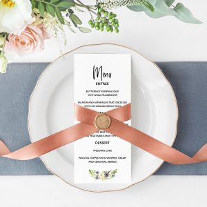 Indigo Blossoms Menu Cards