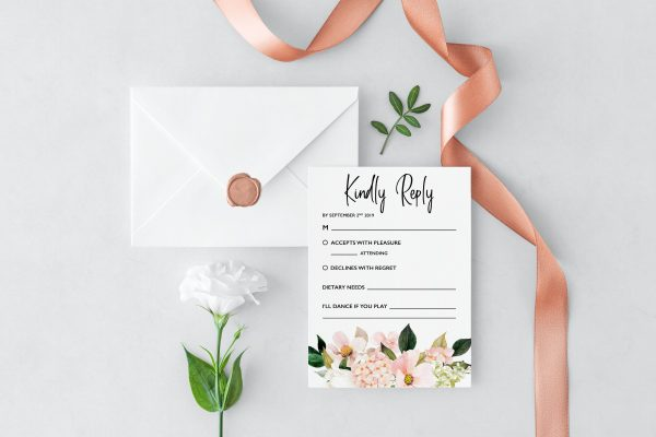 Blush Hydrangeas RSVP Cards