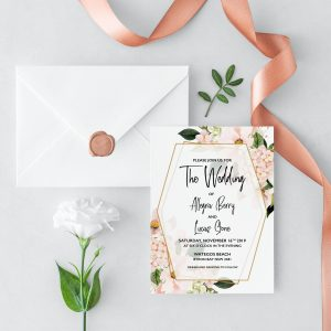 Blush Hydrangeas Wedding Invitation