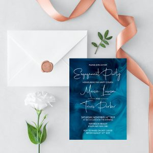 Blue Smoke Engagement Invitation