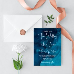 Blue Smoke Wedding Invitation