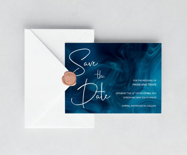 Blue Smoke Save the Date Card