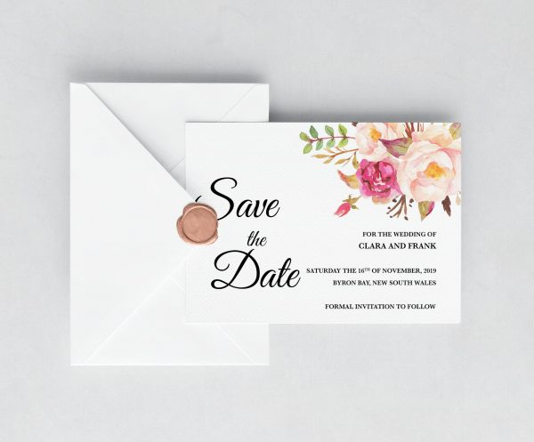 Blushing Blooms Save the Date Cards
