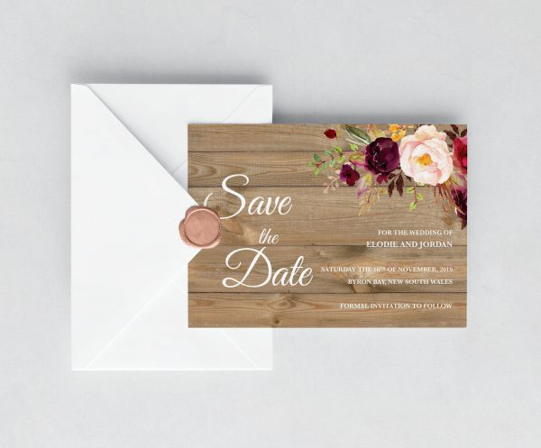Country Blooms Save the Date Cards
