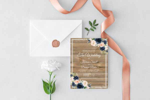 Cobalt Blooms Wedding Invitation