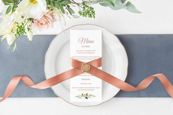 Dusty Belle Menu Cards