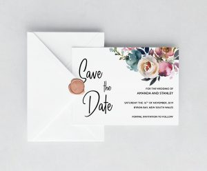 Dusty Posies Save the Date Cards