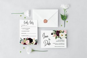 Plum Posies Wedding Set