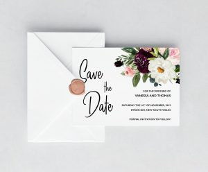 Plum Posies Save the Date Cards