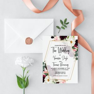 Plum Posies Wedding Invitation