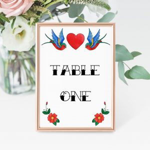 Rockabilly Table Number