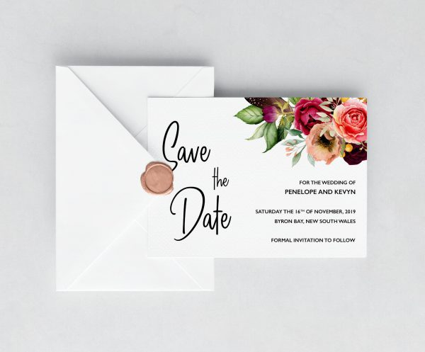 Summer Posies Save the Date Cards