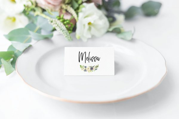 Indigo Blossoms Place Cards