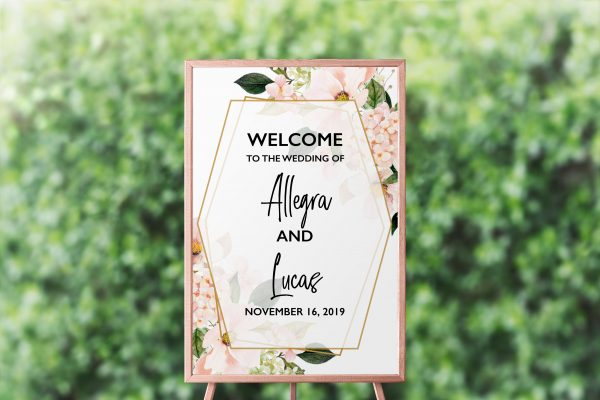 Blush Hydrangeas Welcome Sign