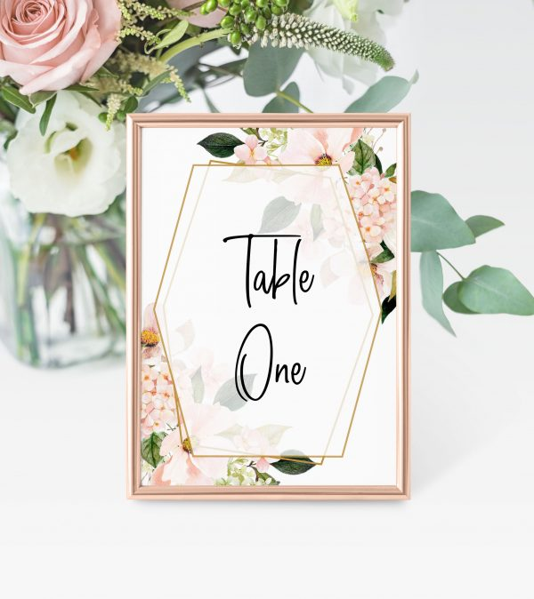 Blush Hydrangeas Table Numbers