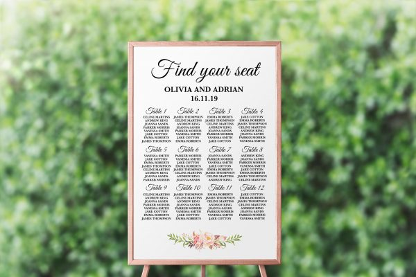 Blushing Blooms Seating Chart