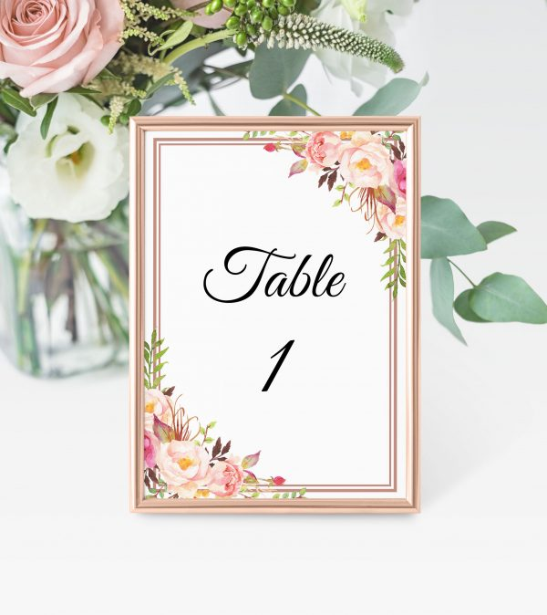 Blushing Blooms Table Numbers