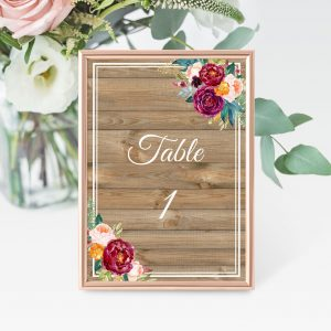 Cottage Garden Table Numbers