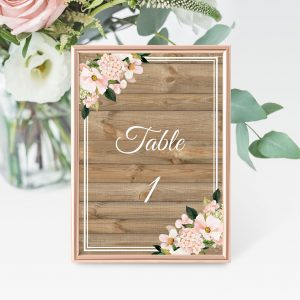Country Hydrangeas Table Numbers
