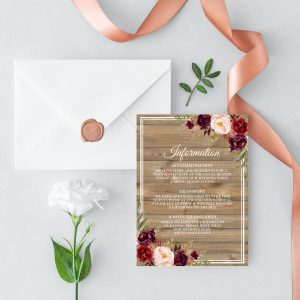 Country Blooms Information Card