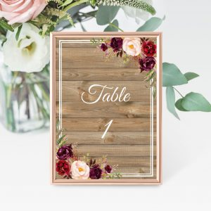 Country Blooms Table Numbers