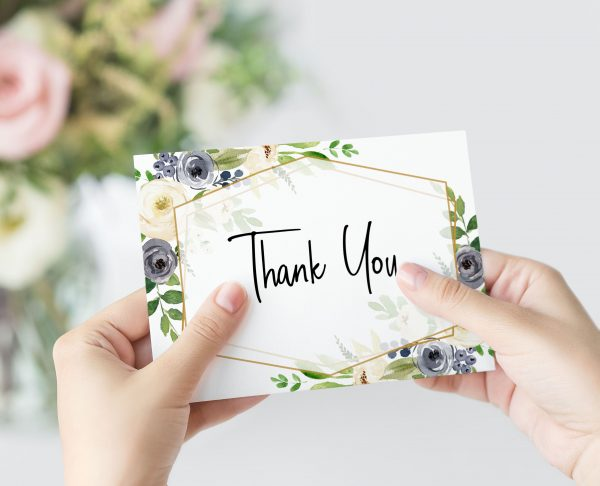 Indigo Blossoms Thank You Card