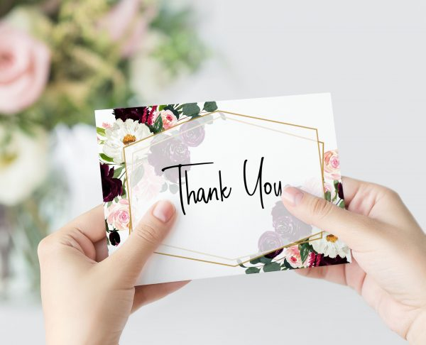 Plum Posies Thank You Card