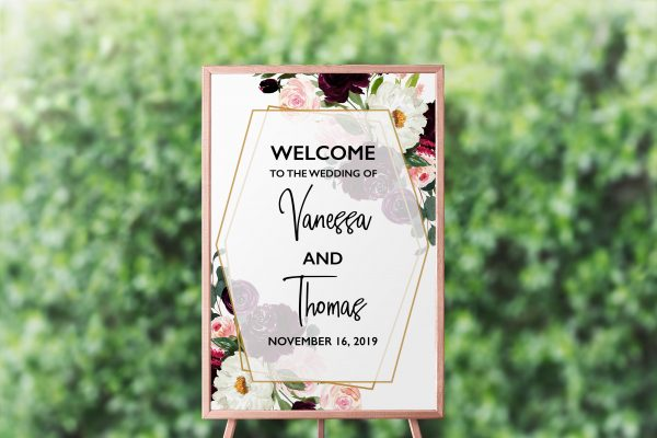 Plum Posies Welcome Sign