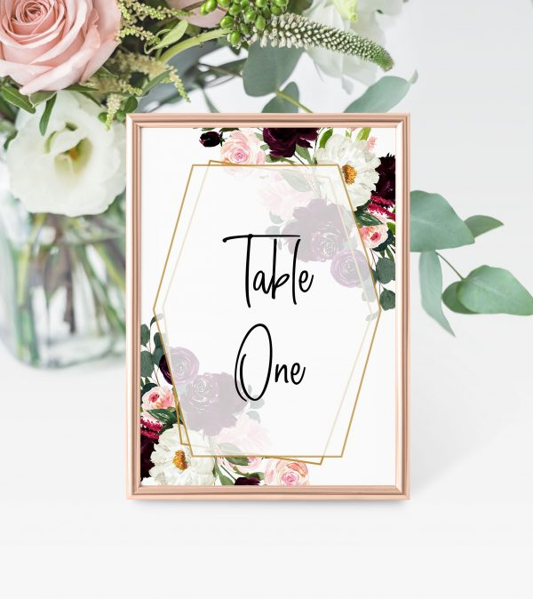 Plum Posies Table Numbers