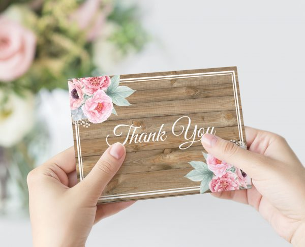 Rustic Pink Peonies Thank You Card
