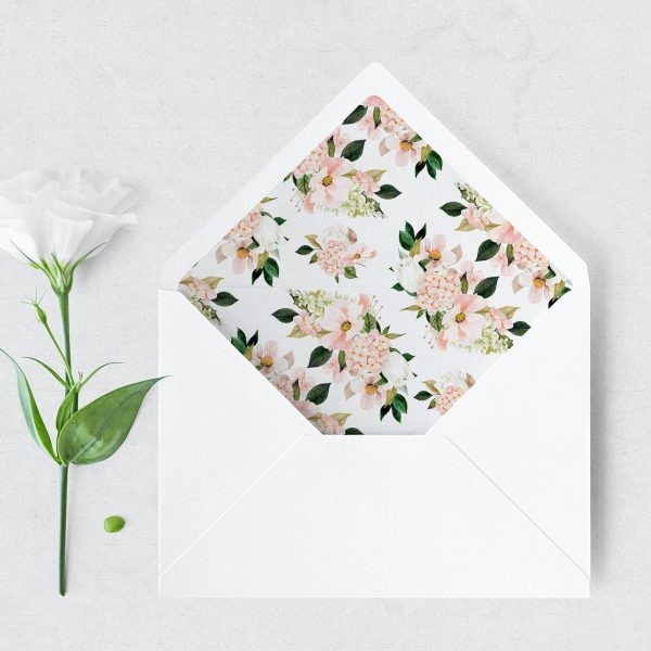 Blush Hydrangeas Envelope Liner