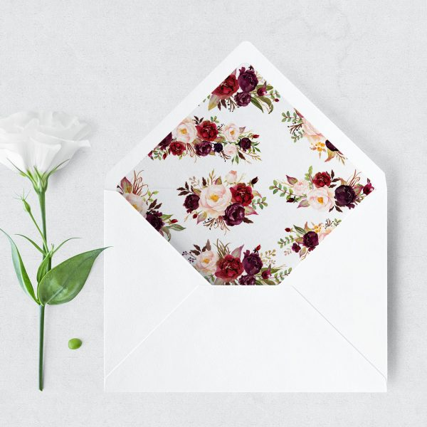 Burgundy Blooms Envelope Liner